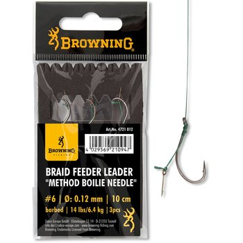 Carlige Legate Browning No.6 10cm 0.12mm Braid Feeder Leader Method Boilie Needle